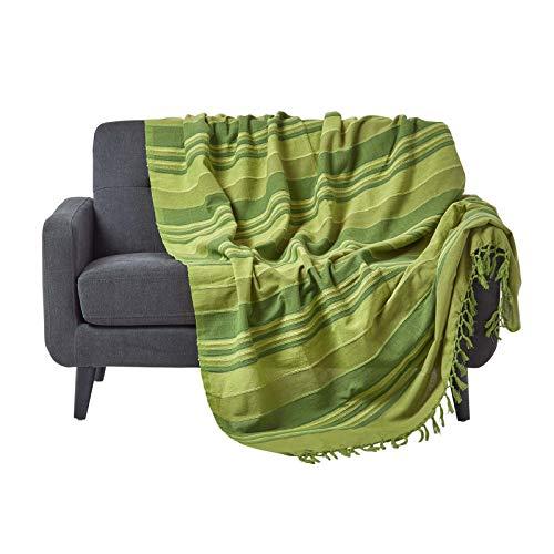 Grünes Stoff Sofa Couch (Homescapes Tagesdecke / gestreifter Sofaüberwurf Morocco in Grün 255 x 360 cm - handgewebt aus 100% reiner Baumwolle - XXL-Größe mit Fransen)