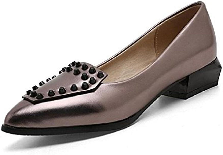 GLTER Mujeres Botas de tacón alto Tacones bajos Remaches Zapato sencillo Zapatos puntiagudos Sandalias , gun color...
