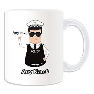 Personalisiertes Geschenk–Traffic Officer Polizei Polizist/Sergeant/(Chief) Inspector Tasse (Police Design Thema, weiß)–alle Nachricht/Name auf Ihre einzigartige Kompressionsshirt–PC Sgt. INSP AZU CID–Dark/schwarz Haar Polizist Hat Cap