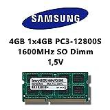 Samsung - Memoria RAM da 4GB (1 x 4GB) DDR3 1600MHz (PC3 12800S) SO Dimm per PC portatile