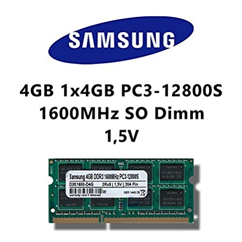 Samsung 4GB (1x 4GB) DDR3 1600MHz (PC3 12800S) SO Dimm Notebook Laptop Arbeitsspeicher RAM Memory -