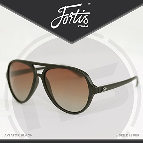 FORTIS Eyewear Sonnenbrille - AVIATOR Angeln, Matte black frame with polarized brown tint