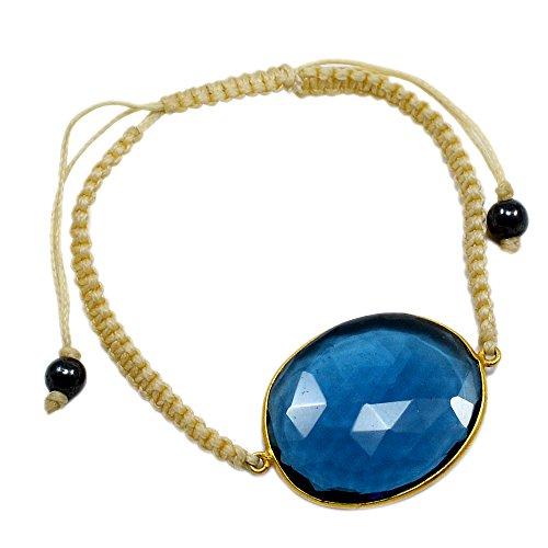 silvesto India Iolite quarzo in argento Sterling 925placcato oro braccialetto gioielli PG 274 - Oro Iolite Bracelet