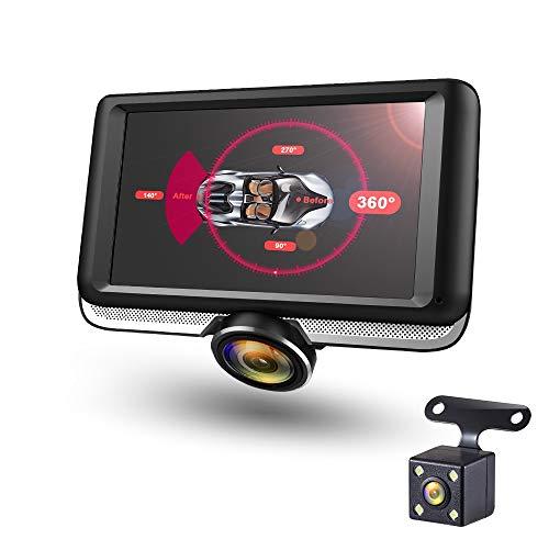 360 Grad Panorama DVR DashCam mit Touchscreen Display Auto Kamera mit Rundumsicht G-Sensor Rückfahrkamera Parkplatz KFZ Nacht Überwachung Diebstahl Bewegungserkennung
