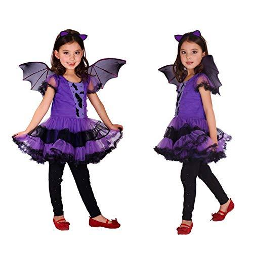 (OOFAY Halloween Kostüm Kostüm Kinder Cosplay Hexe Kostüm Set Kostüm Party Zauberer Hexe Rock + Kopfschmuck + Flügel 3 Stück,160)