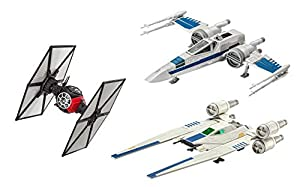 Revell Build & Play S2183 Star Wars First Order Special Forces Tie, Resistance X Rebel U-Wing Fighter - Juego de construcción y Juego de construcción de 3 Barcos espaciales, Multicolor