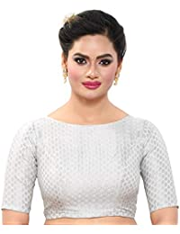 9caa4adf2604ec MADHU FASHION's Women's Silver Banaras Brocade Readymade Saree Blouse with  Elbow Length Sleeves & with Boat