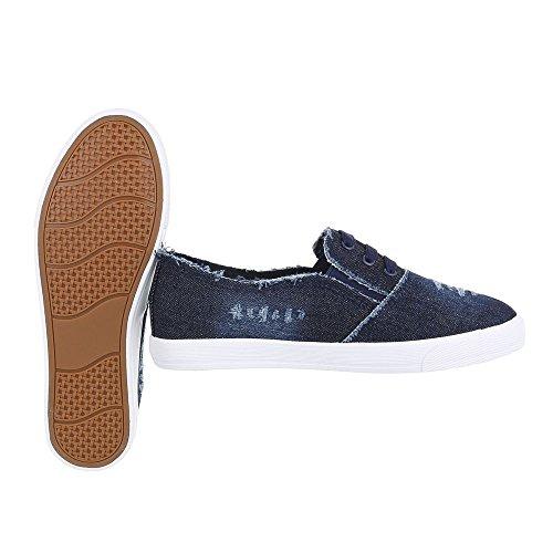 Ital-Design - Pantofole Donna Dunkelblau R58