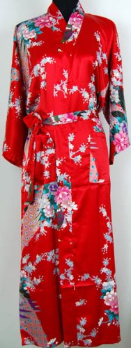 Shanghai Tone® Klassisch Geisha Kimono Robe Nachthemd Rot Einheitsgröße (Klassische Kimono-robe)