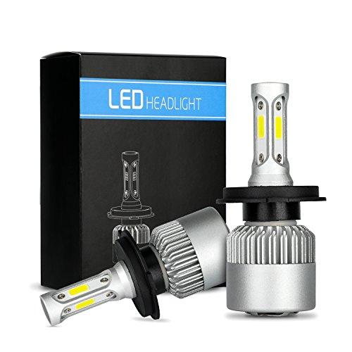 Faros LED H4 Bombilla 60W 6000LM Bombillas de faros de coche superbrillantes Impermeable y blanco frio 6000K COB Kit de conversión de faros de LED Reemplace para focos halógenos HID (LSH4)