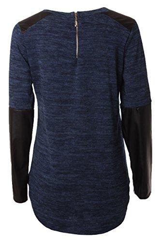 Pull Chandail Manches Longues Shirt avec Impression et Aspect Cuir Manches Bleu