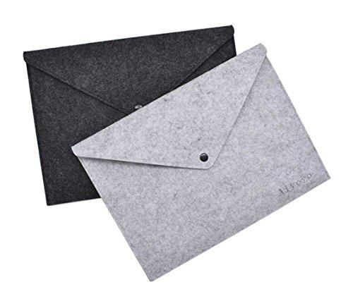 AiYoYo 2 Stück Filz Dokumententaschen din A4 Mappen Leicht und Tragbar Aktenordner Ideal fürs Büro Schule und Die Mobile Organisation 24 x 33cm (Mobile Arbeit-feld)