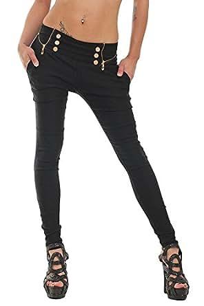 10037 Fashion4Young Damen Treggings Hose aus elastischem Stretch-Material verfügbar in 5 Größen 3 Farben (XS = 34, Schwarz)