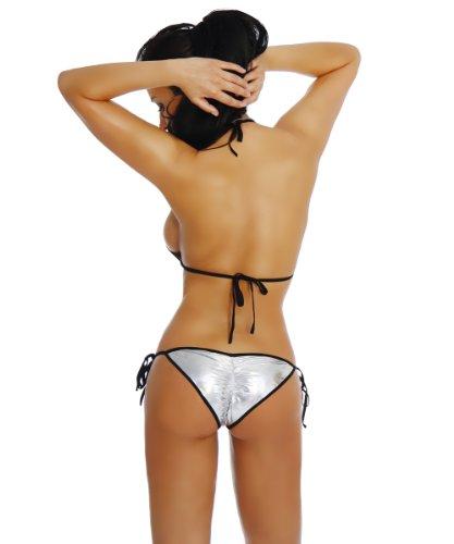 HO-Ersoka Bikini Wetlook metallic Silber/Schwarz