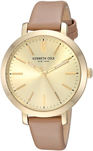 Kenneth Cole New York orologio al quarzo in acciaio INOX e pelle casual da donna, colore: Beige (Model: KC15173007)