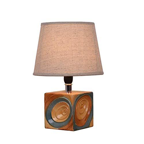 Schreibtischlampe Nachttischlampe Stoff Lampenschirm Rund,Tischlampe Keramik,E14 Tischleuchte Beige,Leselicht Dekoleuchten Geometrie Würfel Farbe Glasur Körper Schlafzimmer Wohnzimmer,A1 -