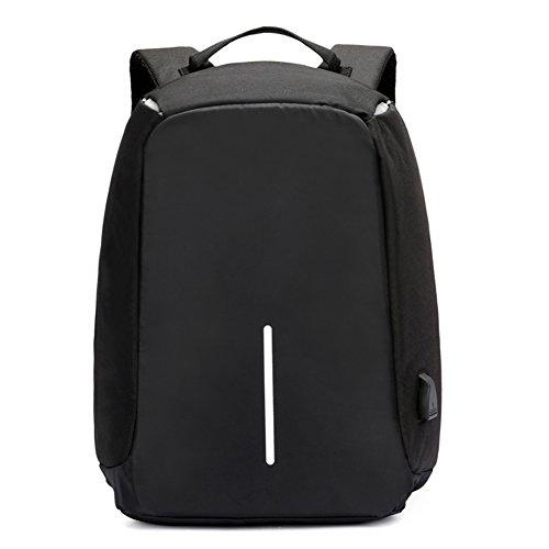 Young & Ming Anti-Diebstahl Laptop Rucksack Leichtgewichtiger Laptoptasche mit USB Ladeanschluss 14 Zoll Wasserdicht Business Travel Outdoor Wandern School für Frauen Männer (Schwarz) (Oxford Grau Licht)