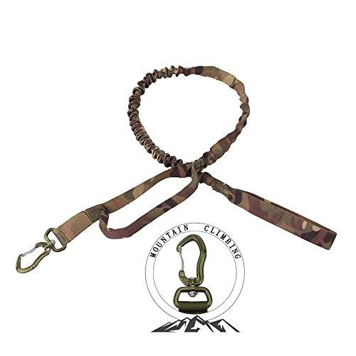 PSKOOK Tactical Hund Training Bungee Leine mit Control Griff Schnellverschluss Nylon führt Seil (CP camo) (Nylon-griff Leinen)