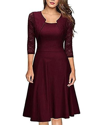 Minetom Damen Kleider 3/4 Arm A-line Empire Taille mit Spitzen Knielang Abendkleid Minikleid festlich Cocktail Party Weinrot DE 46