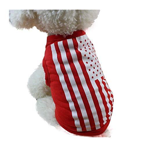 Kostüm Haustier Niedliche - Pet Kleidung,Amerikanische Flagge niedliche Haustier-Weste kleidet kleines Welpen-Kostüm-Sommer-Kleid,Baumwolle Hund Kleider T-Shirt Weich Zweibeiner Bodenbildung Pet Kleidung (XS)