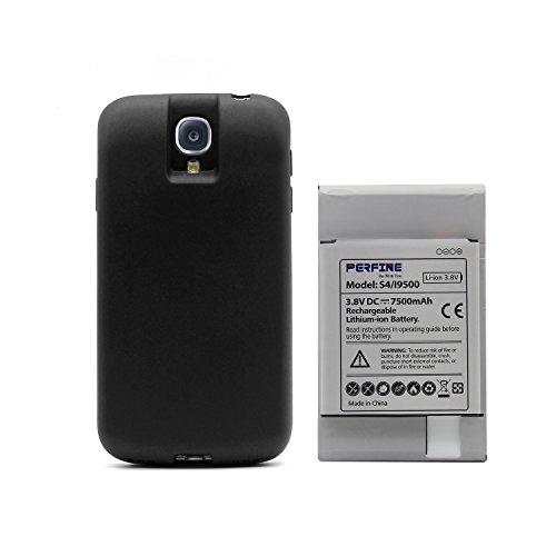 Perfine 7500mAh NFC Handy Ersatzbatterie Akku Batterie Ersatzakku für Samsung Galaxy S4 I9500 I9505 mit Akkufachdeckel Noir