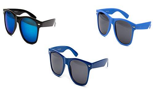 3 er Set Nerd Sonnenbrille Partybrille Festival Sunglass Stil Atzen Brille Schwarz Blau Dunkel D306