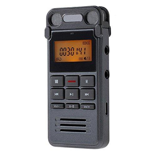 ESYNiC 8GB Registratore Vocale Digitale Dittafono Registrazione Telefono LINE-IN Registratore Audio con LCD Display - Un Tasto per Registrare - Dual Microfono 360° Registrazione - Ideale per Classe Riunione Conferenza Riff Concerto Intervista