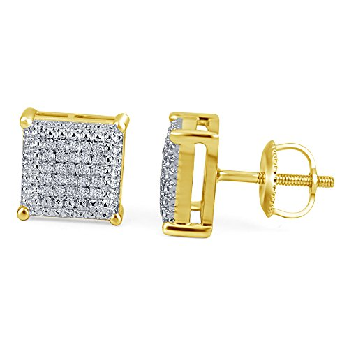 lilu Jewels naturel rond blanc coupe Diamant Boucles d'oreilles clous en argent sterling 925carré 10mm pcs 14k Gold Plated