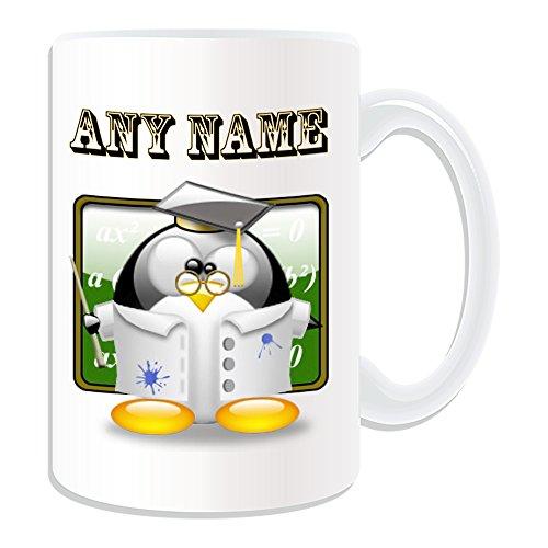 Personalisiertes Geschenk, großer Professor Doctor Tasse (Pinguin in Kostüm Design Thema, weiß)-alle Nachricht/Name auf Ihre einzigartige-Lehrer Dozenten PHD DR (Son In Law Kostüm)