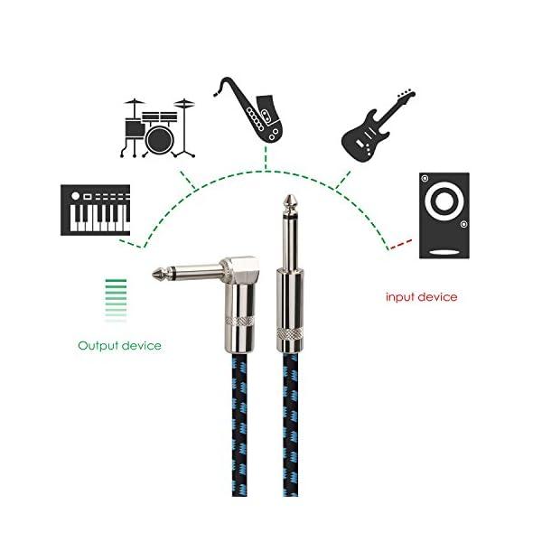 Mugig Cavo per Chitarra Basso o Tastiera con Rivestimento in Tweed Intrecciato 3M Jack 6.3mm da Diritto a Angolo a Destra