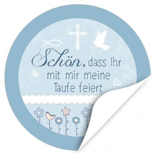 48 Design Etiketten, rund/Schön, dass Ihr da seid - Symbole Blau/Thema Taufe, getauft/Aufkleber / Sticker/für die Feier und Gäste als Dankeschön