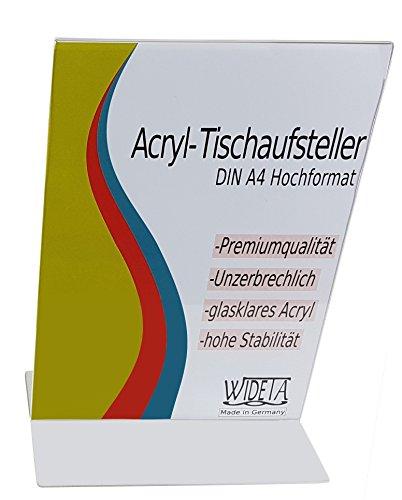 Runde Etagere Rack (WIDETA Acryl-Tischaufsteller für DIN A4 / Werbeaufsteller / T-Ständer / Prospekthalter in T-Form Hochformat (1 Stück))