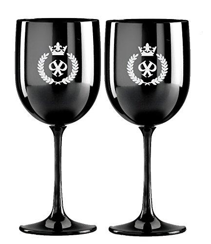 2 Champagnergläser schwarz mit Logo silber (Acryl - KEIN GLAS) Luxus-Gläser Silver | extravagant Ice Edition