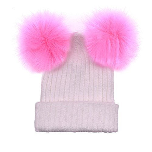 Tewfamroe Damen Strickmützen Häkeln Sie Knit Double-Hairball Beanie Cap Winter warme Hüte (Weiß B) (Damen-double-knit)