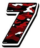 Startnummer Nummern Zahl Auto Moto Vinyl Aufkleber Sticker Motorrad Motocross Motorsport Racing Nummer Tuning Camouflage Rot (7), N 227