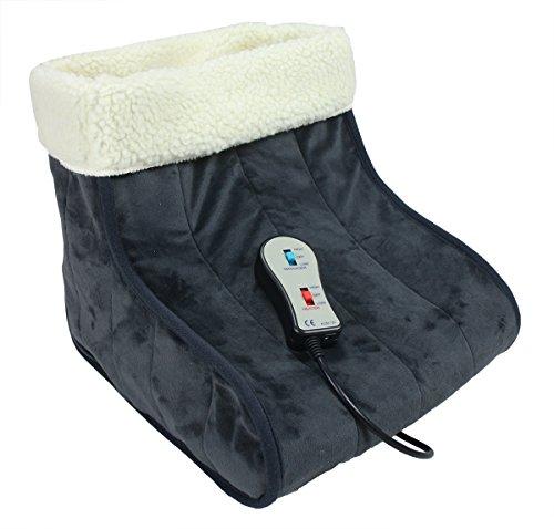 ObboMed MF-2050 12V 22W Calentador de Pies con Fibras Calefactoras de Carbono, Eléctrico y con una Acogedora Función de Masaje por Vibración – Zapatillas de Calefacción, Zapato Infrarrojo