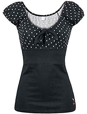 Pussy Deluxe Camiseta Dolly Dotties Camiseta Mujer Negro