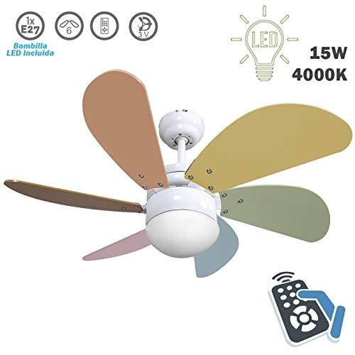 FABRILAMP ventilatore da soffitto con luce LED serie Delfino Bianco Pale colori pastello 13W 4000K con telecomando