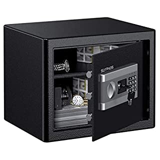 SLYPNOS Safe Box, Large 28 L Home Safe Solid Steel Electronic Digital Safety Security Box Cabinet Safe For Jewelry Cash Documents in Home Office Hotel, With 3 Locking Bolts, 37x31x30 cm,Black