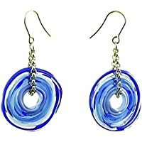 Genuine Murano glass earrings in blue shades - directly from the artist | Stainless steel chain and hanger | Unique glass jewellery personalised | Elegant and handcrafted | Charming Birthday Gift friends gift | Wonderful Mother's Day gift for your wife, mother, mom or om