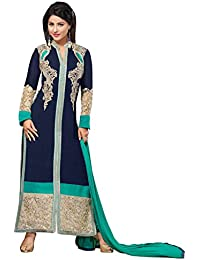 Styles Closet Women Blue Georgette Embroidered Semi Stitched Straight Free SIze Semi Stitched Salwar Suit