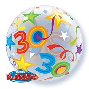 "Globos de látex Qualatex 24168 22 ""burbuja de 30 brillante estrellas solo 01 ct"