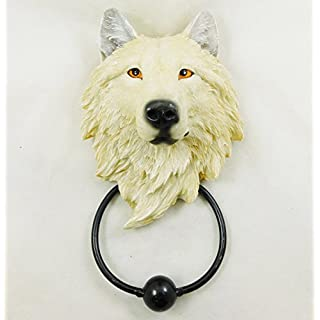 Wolf Door Knocker White Snow Ghost Wolf Head Hand Painted Ornament | 3876