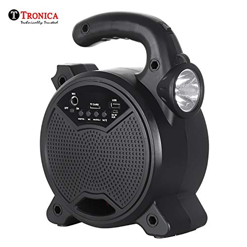 Tronica ZQS-5101 Rechargeable Bluetooth Speaker with Emergency Light Together with PenDrive/SD Card/Mic Support (Black)