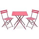 Alice's Garden - Salon de jardin bistrot pliable - Emilia carré rouge - Table carrée 70x70cm avec deux chaises pliantes, acier thermolaqué, chaises avec lames incurvées pour plus de confort
