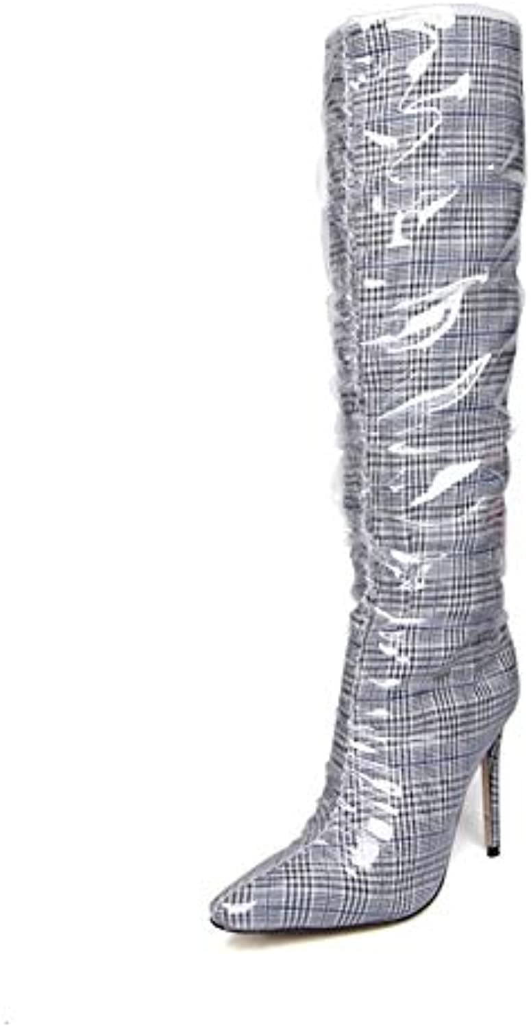 c0f9e4f2bf4 Women Thigh High Boots Black Red Stiletto Heels Fashion Transparent  Transparent Transparent PVC Pointed Mid-Calf Boot Party Evening Shoes  B07H42RTHF Parent ...