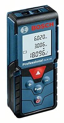 Bosch Professional GLM 40 Laser-Entfernungsmesser (0,15 - 40 m Messbereich, 2x1,5 V LR03, AAA Batterien, Schutztasche) 0601072900