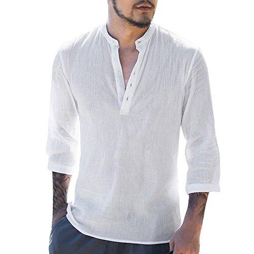 Minetom ShallGood Uomo Camicia in Lino Slim Fit Estate Elegante Casual Maniche Lunghe Camicie Spiaggia Regular Fit Uomo Colore Puro Classico Lavoro Shirts B Bianco Medium