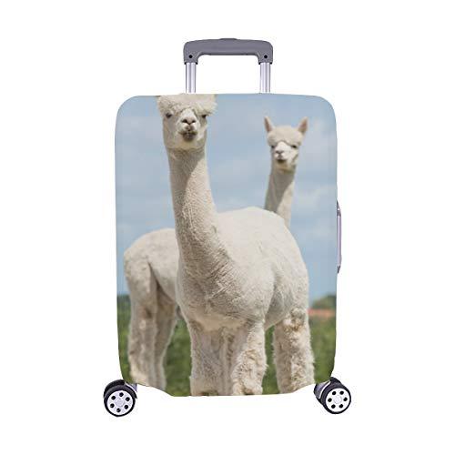 Schließen Sie herauf Porträt von Zwei netten Alpakas-Muster-Spandex-Staubschutz Trolley Protector case-Kasten-Reisegepäck-Schutz-Koffer-Abdeckung 28,5 X 20,5 Zoll(Nur die Gepäckstaubabdeckung) -
