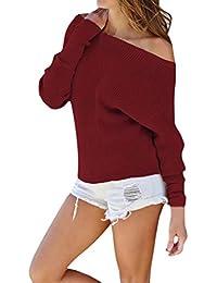Mujer blusa tops casual otoño,Sonnena Las mujeres Blusa tops de moda punto sólido manga larga fuera off hombro camiseta Tops suéter blusa casual traje de otoño trabajar y jugar